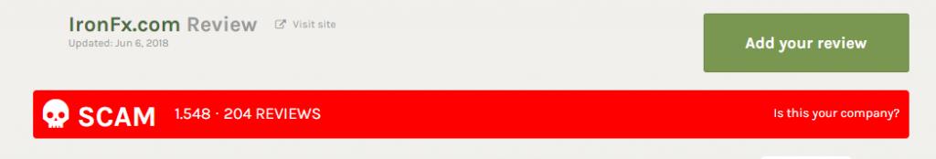ironfxはFPAでSCAM認定されている