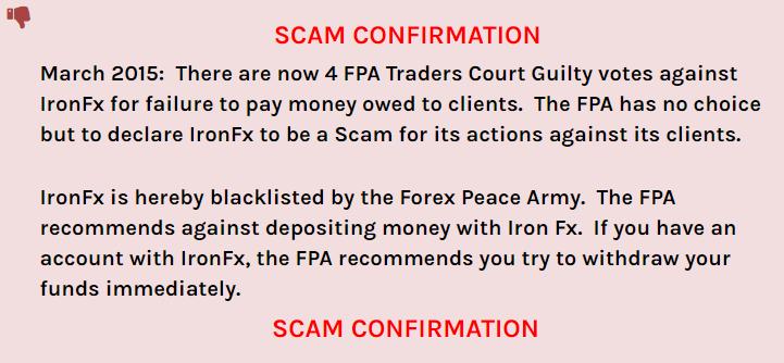 IronFXはForexPeaceArmyでSCAN認定されている