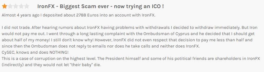 IronFXの出金拒否に関する口コミ①